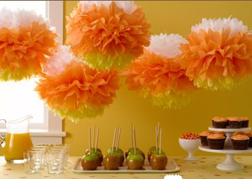 getting ready for our halloween party - Halloween Pom Poms
