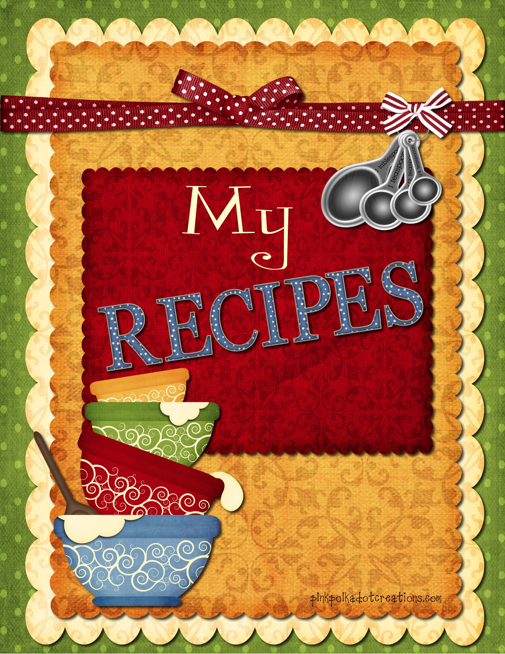 My Cookbook Cover : Recipe book dividers pink polka dot creations