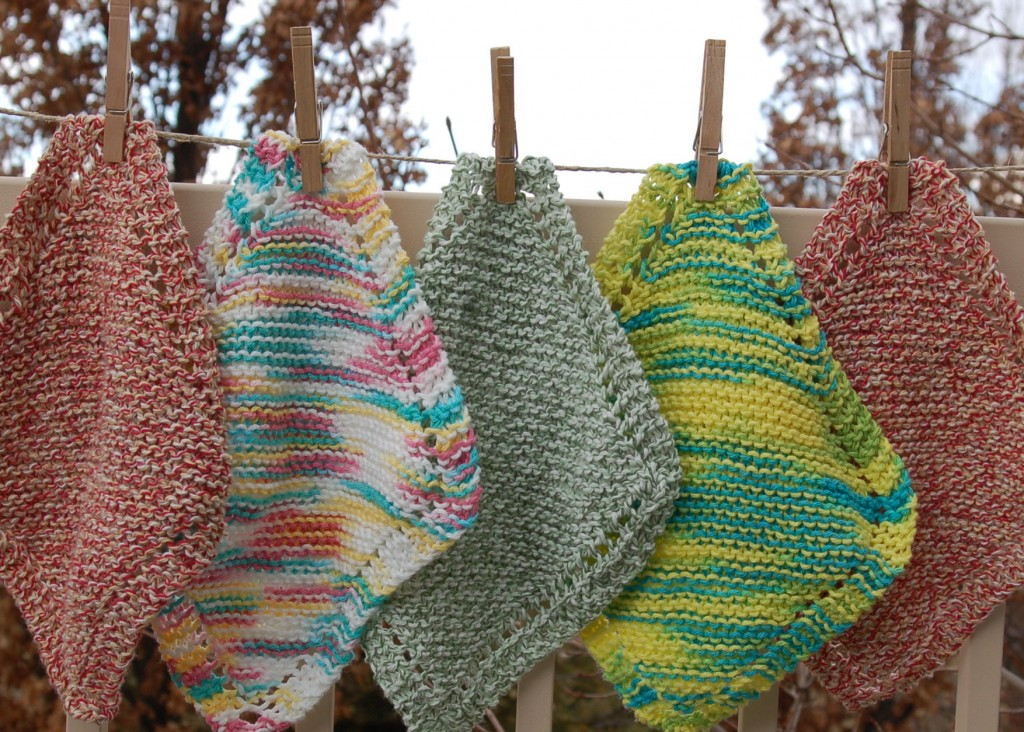 Knitting Pattern Using Cotton Yarn : Knitted Dishcloths - Pink Polka Dot Creations