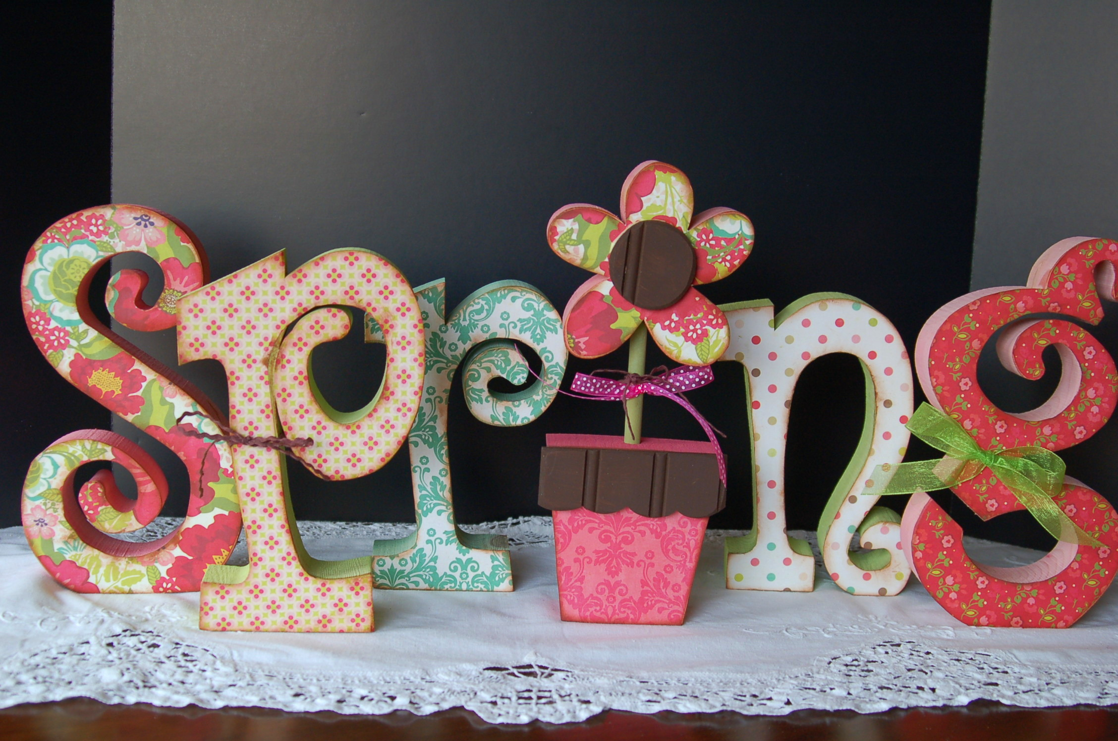 Spring wooden letters Archives - Pink Polka Dot Creations