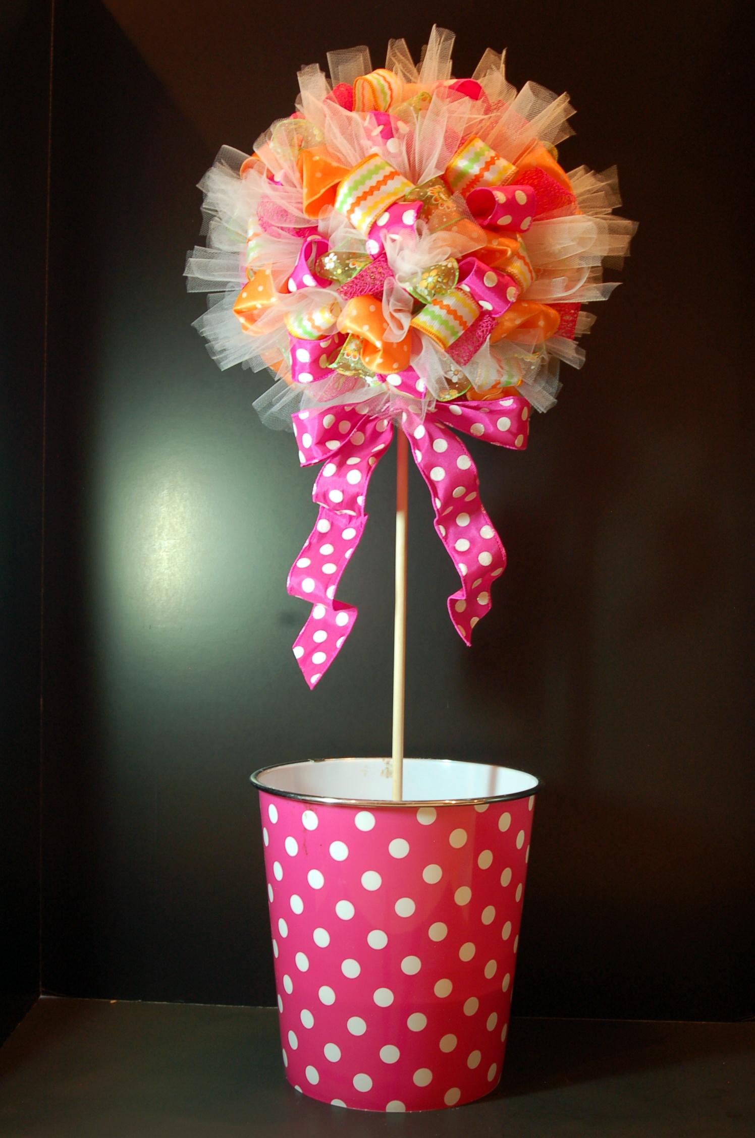 Ribbon Topiary Pink Polka Dot Creations
