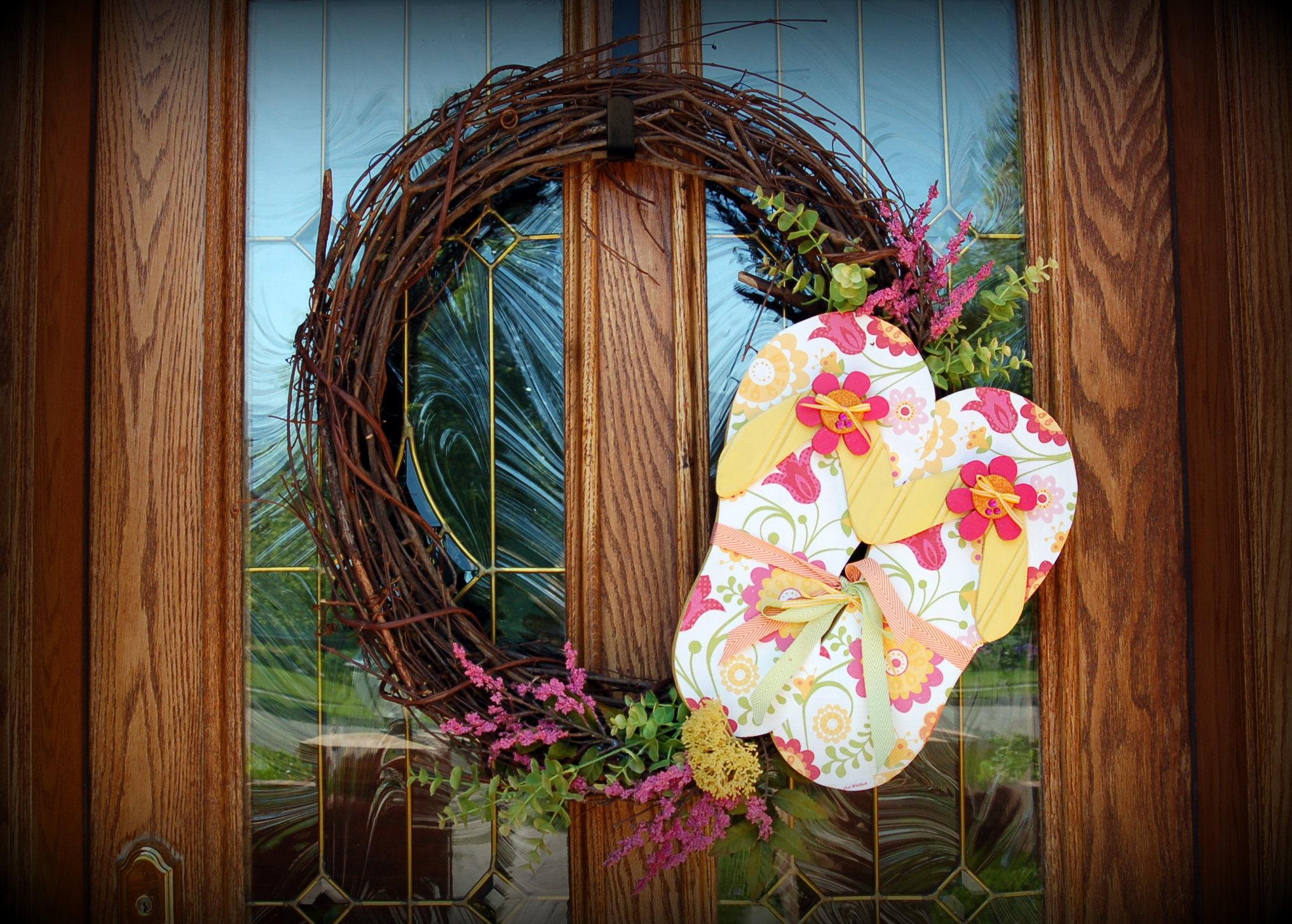 8cbe22f4c87a Summer Flip Flop Wreath - Pink Polka Dot Creations