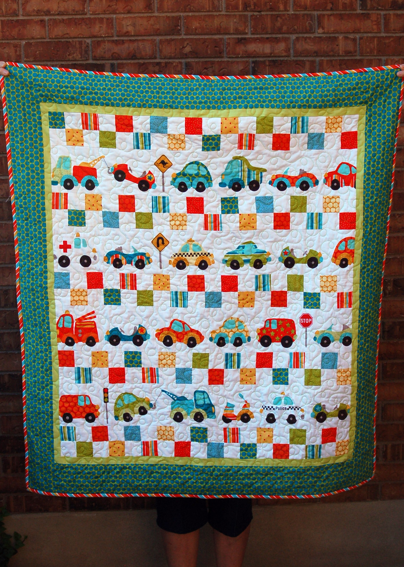 Fun trucks and cars quilt pink polka dot creations for Little blue truck fabric