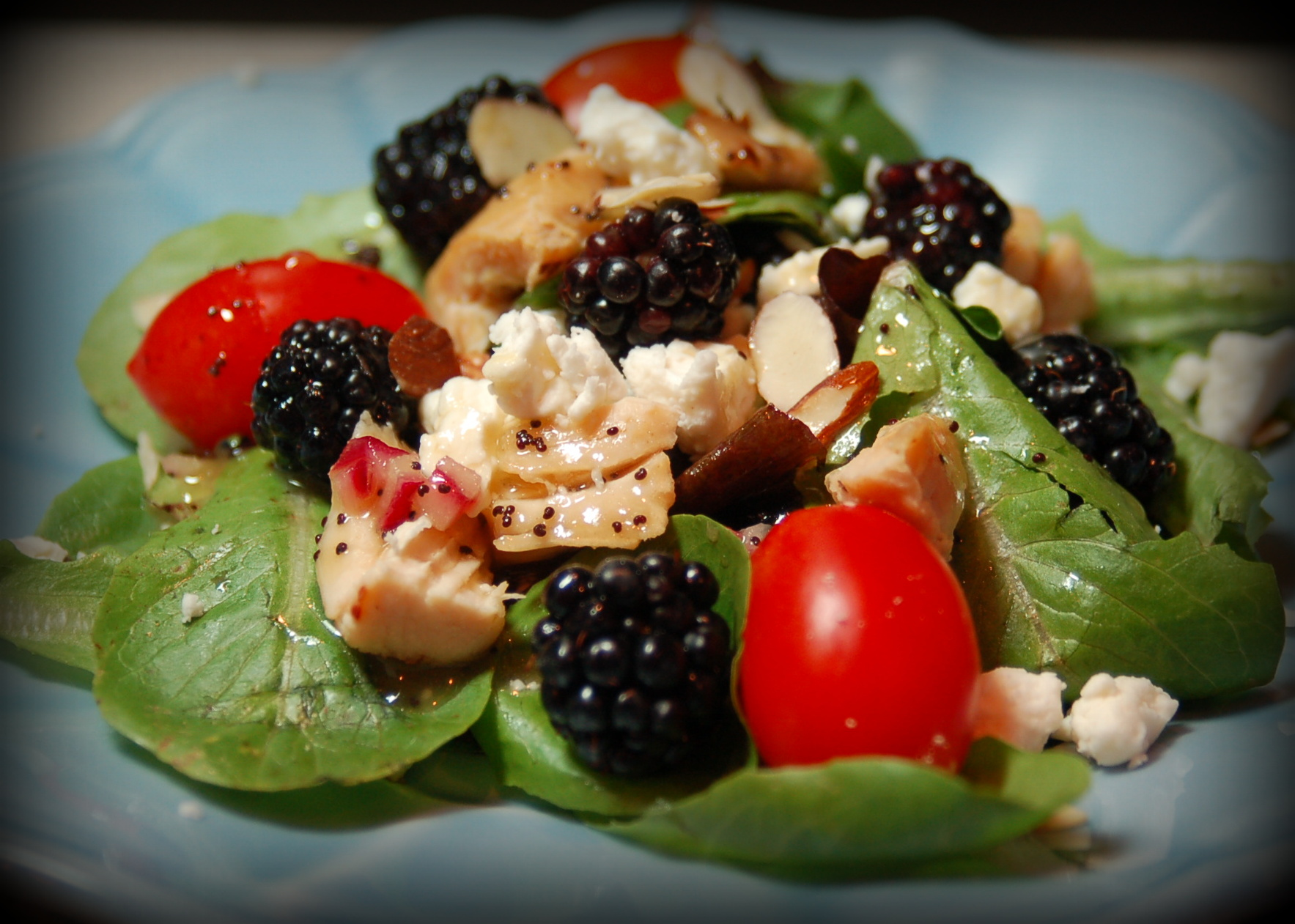 Blackberry and Grilled Chicken Salad | Pink Polka Dot Creations