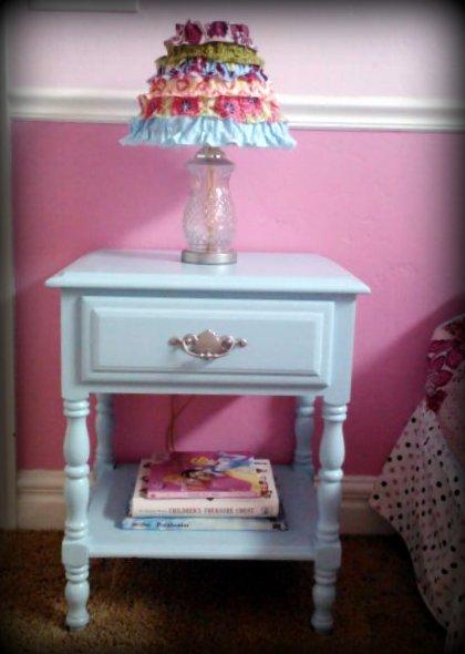 Garage sale nightstand make over pink polka dot creations for Little girls nightstand