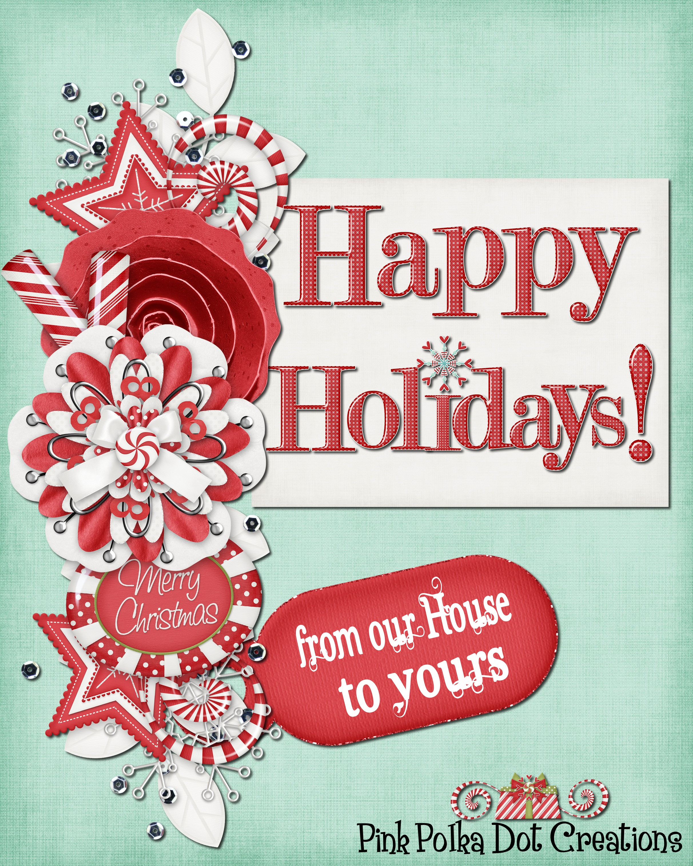 happy holidays pink polka dot creations