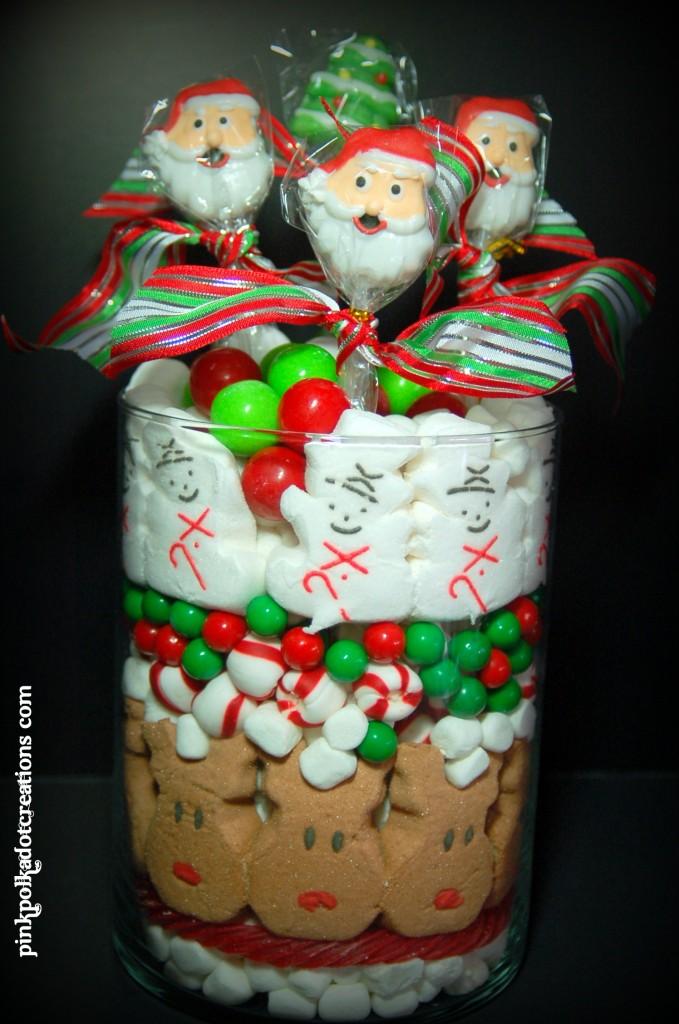 Christmas candy jar pink polka dot creations
