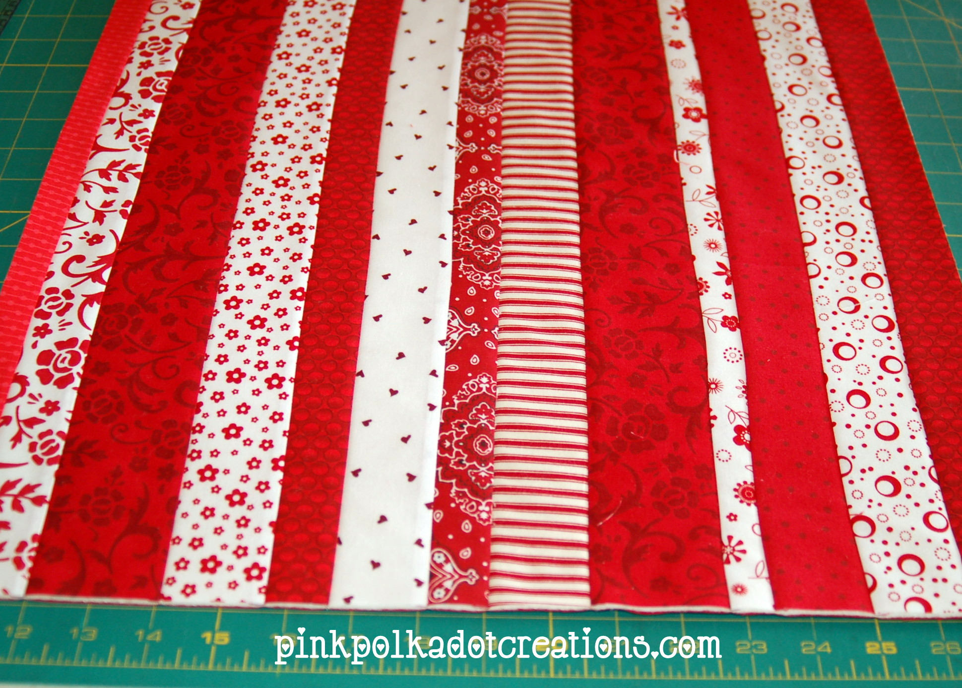 Quilt As You Go Table Runner Pink Polka Dot Creations