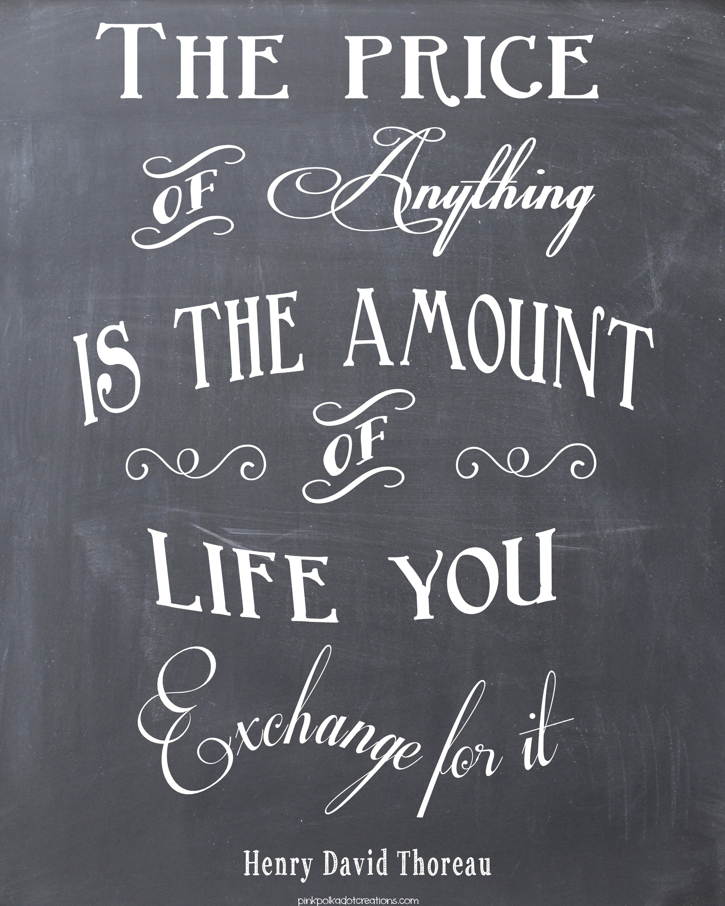 Chalkboard Quotes: Thursday's Thought...The Price