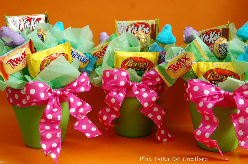 Fun easter bouquet pink polka dot creations