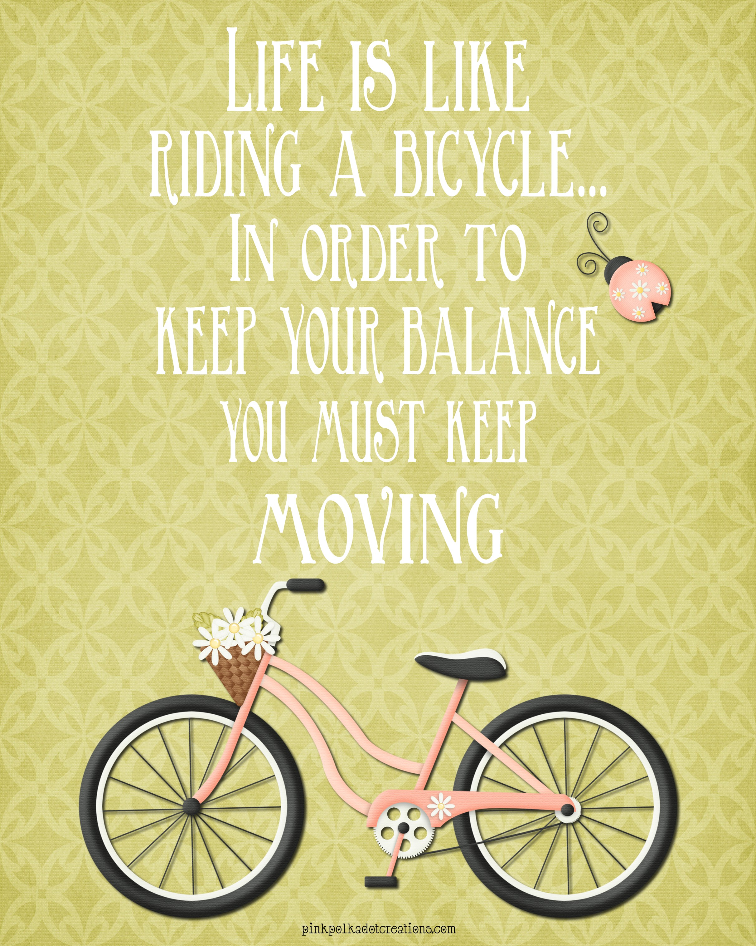 Thurs. Thought-Life is Like Riding a Bicycle - Pink Polka ...