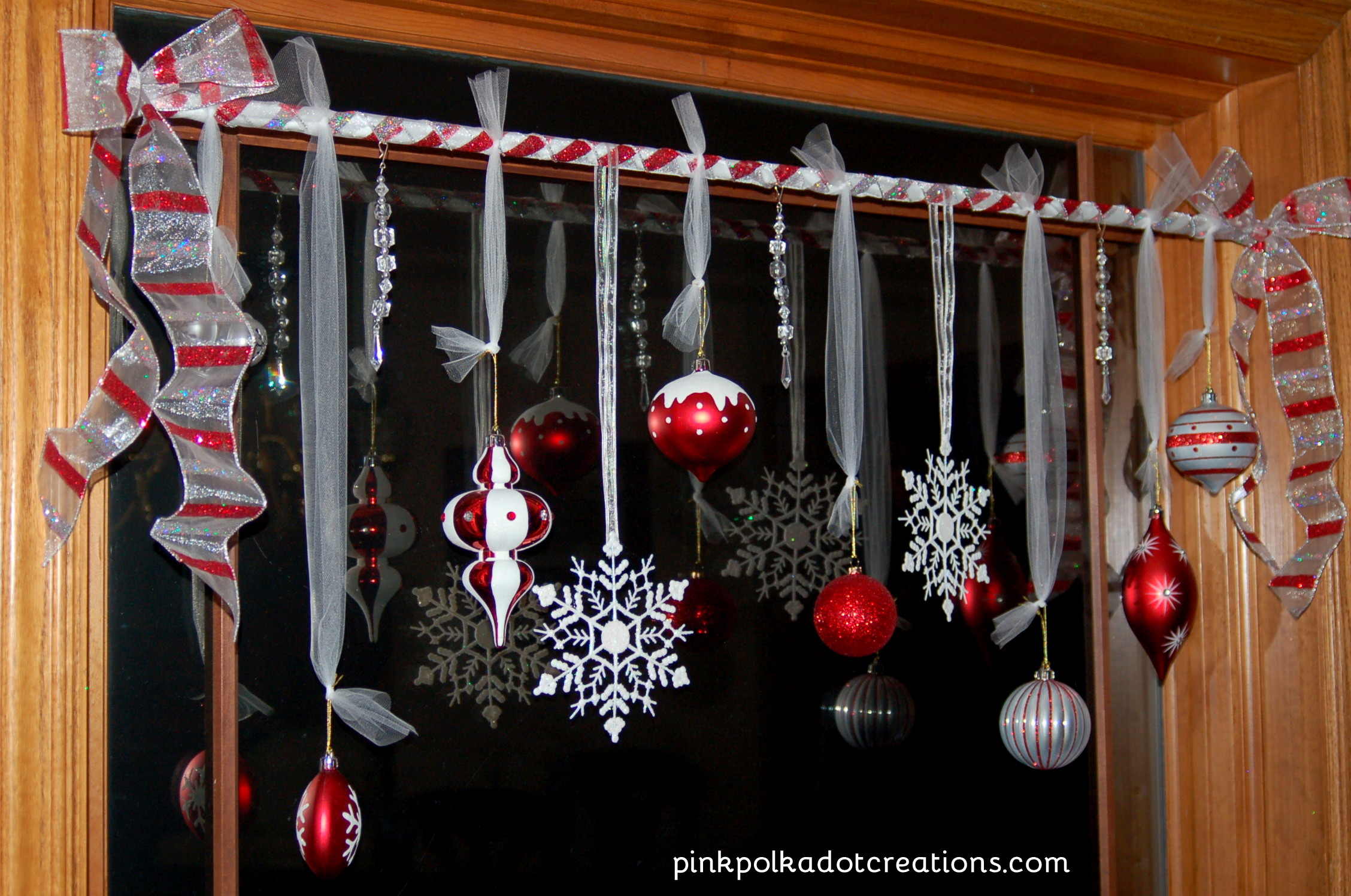 Christmas window treatments pink polka dot creations Christmas decorating diy