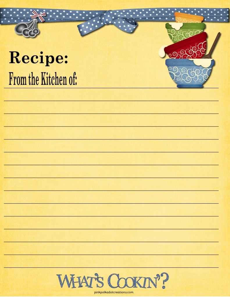 Recipe cards pink polka dot creations for Full page recipe template for word