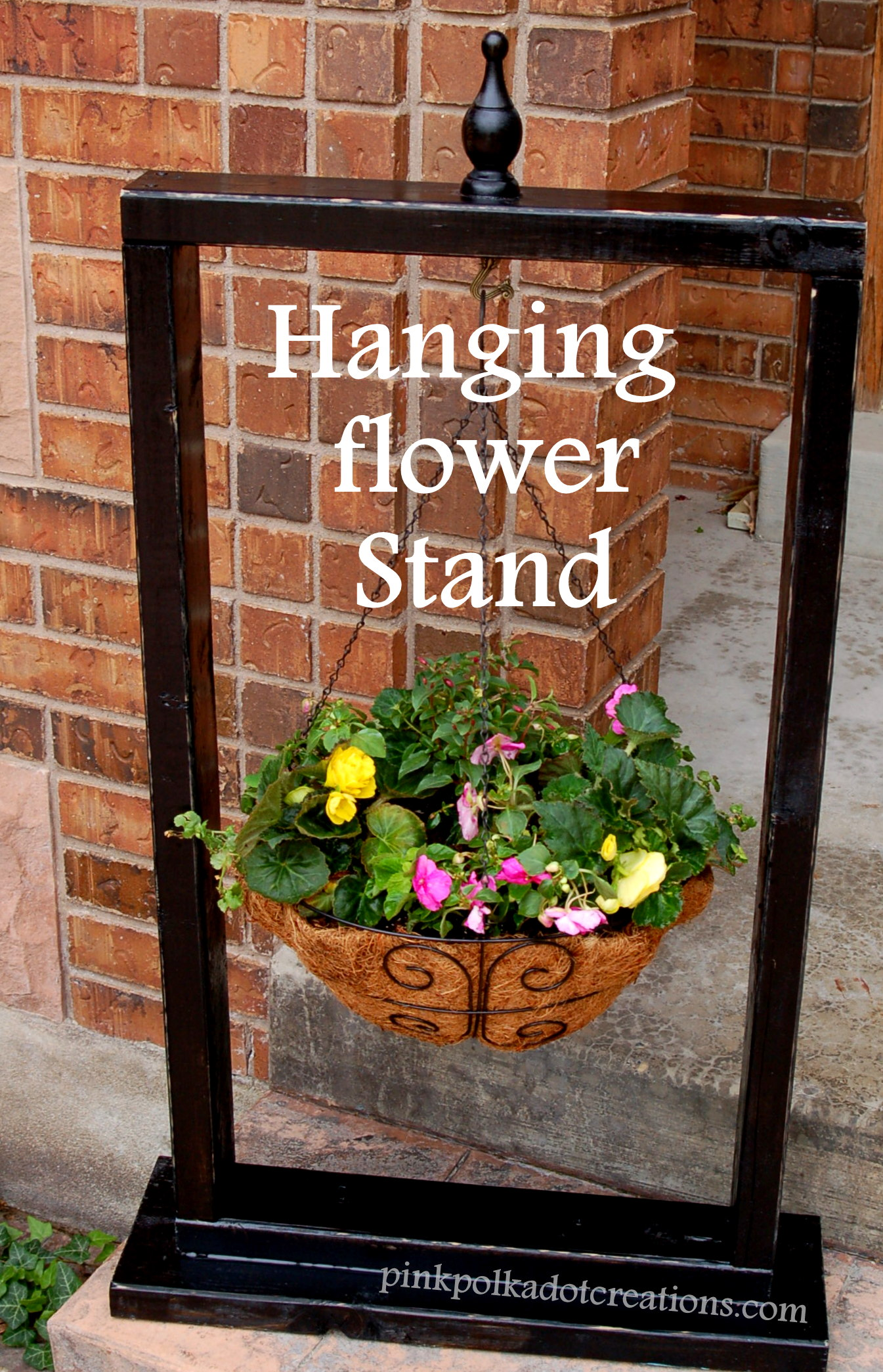 Hanging Flower Stand Pink Polka Dot Creations