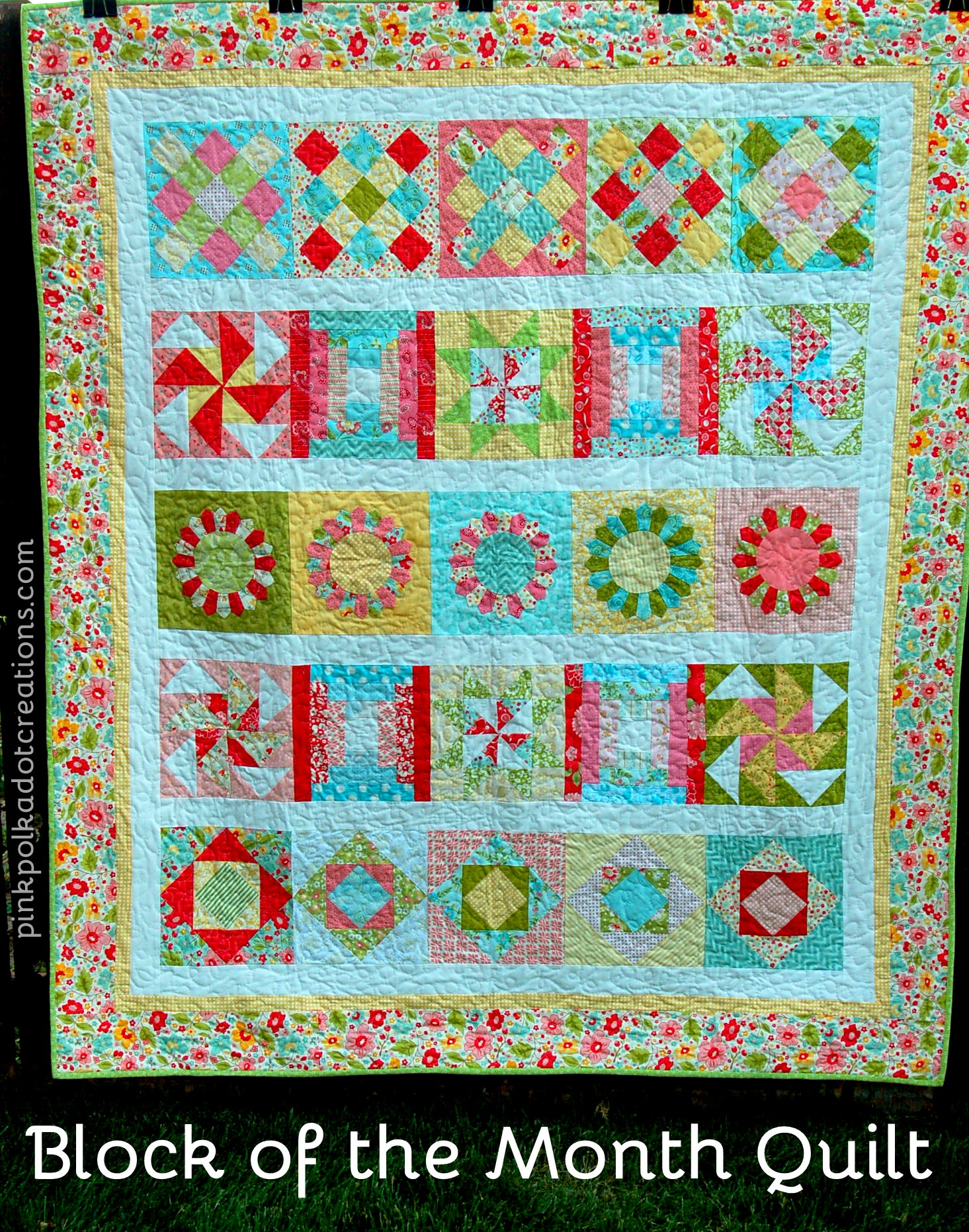 Quilt Patterns Block Of The Month : Block of the Month Quilt - Pink Polka Dot Creations