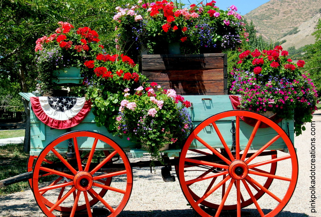 pioneer wagon with flowers