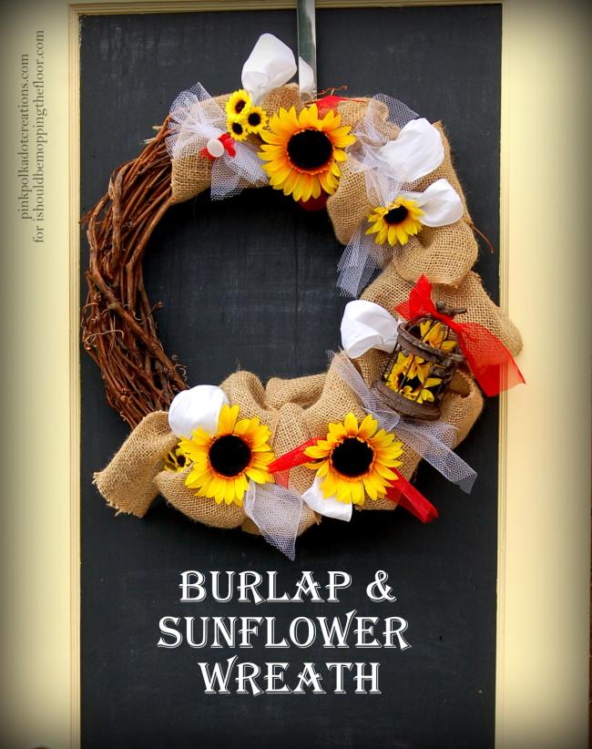 Burlap and Sunflower Wreath/Pink Polka Dot Creations