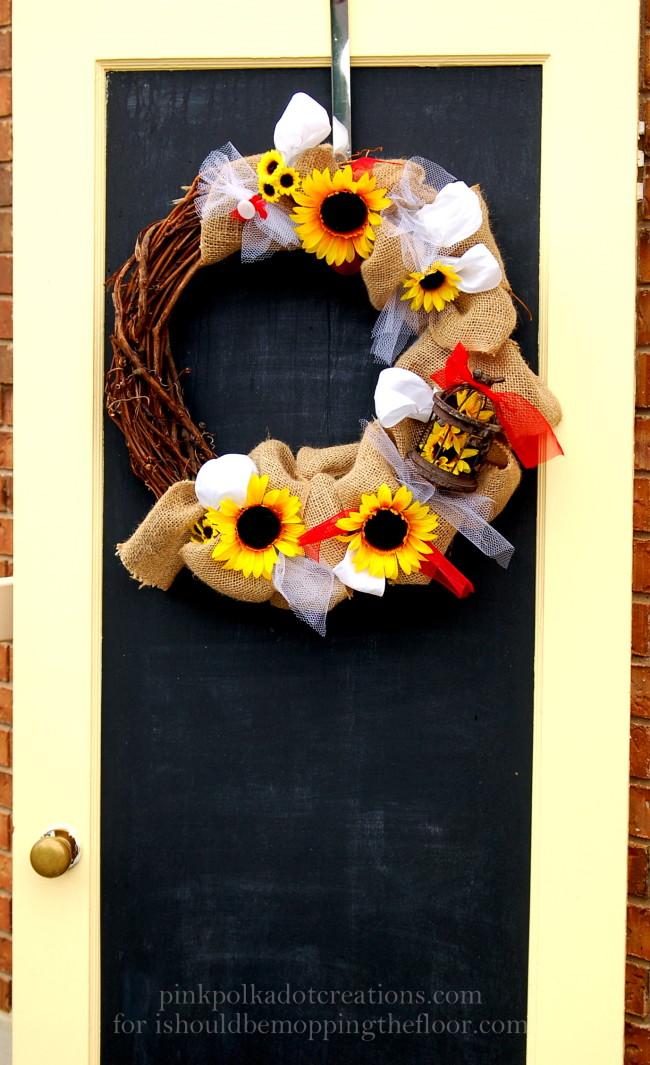 chalkboard door with burlap wreath/pink polka dot creations.com