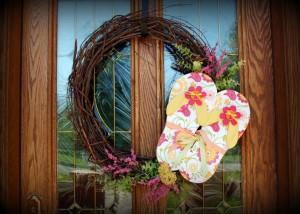flip flop wreath/pink polka dot creations