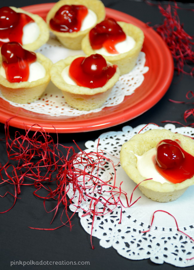 Mini Cherry Cheesecake Bites - Pink Polka Dot Creations