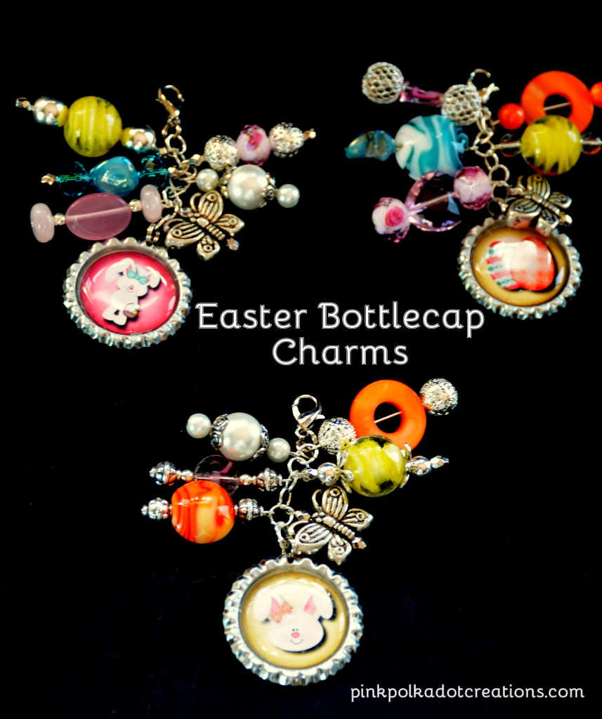 Easter bottle cap charms
