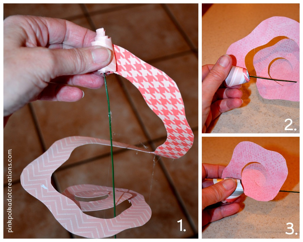 Rolled Paper Flowers Pink Polka Dot Creations