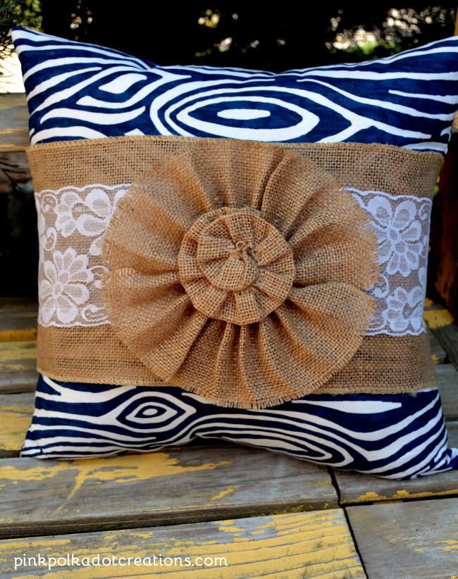 burlap pillow wrap