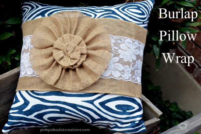 burlap pillow wrap