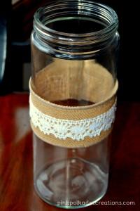 burlap and lace vase wrap