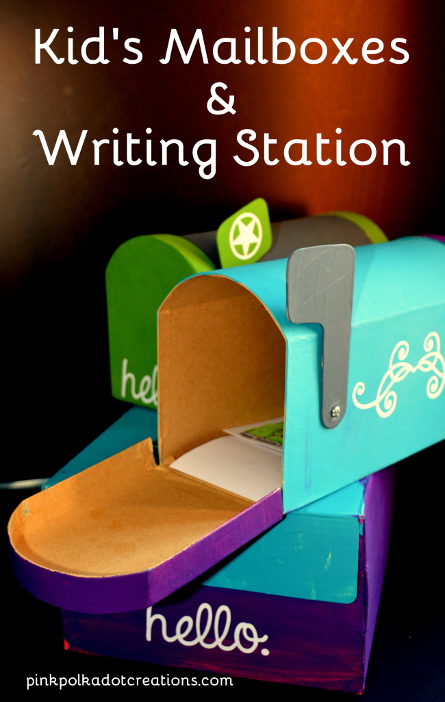 kid's mailboxes and writing station