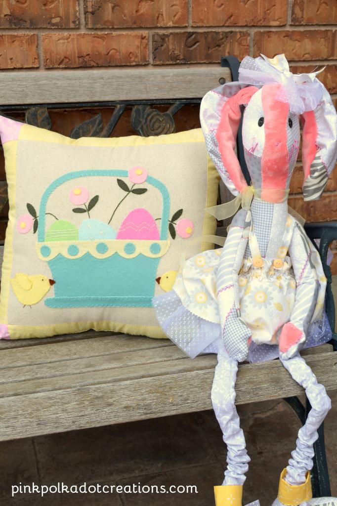 Wool Applique Easter Pillow