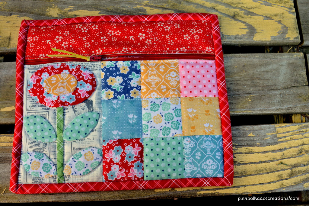 appliqued zippered pouch