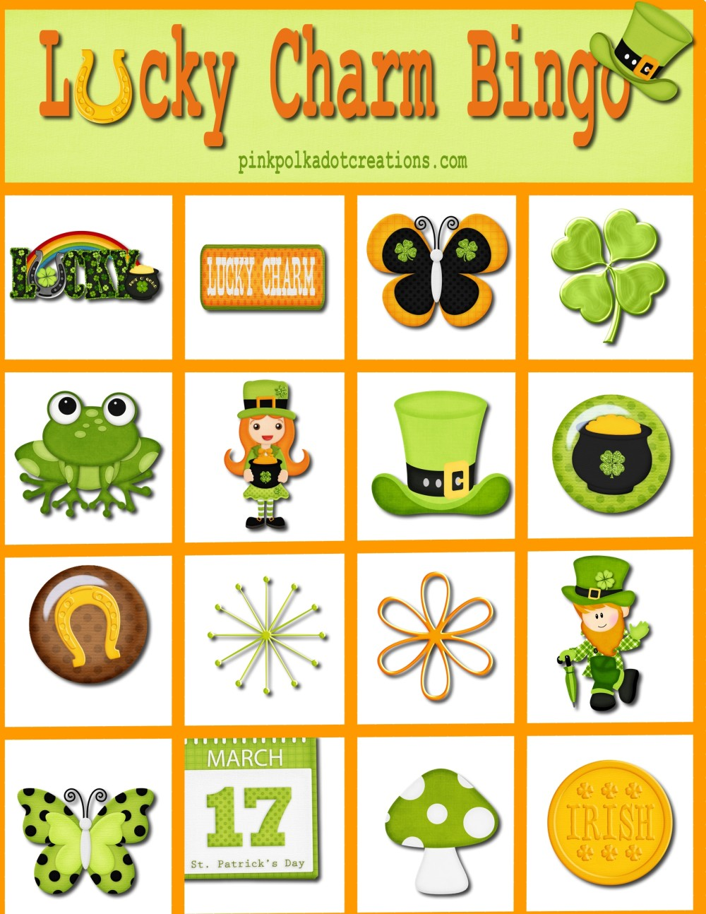 graphic relating to St Patrick's Day Bingo Printable titled Privileged Appeal Bingo Sport - Red Polka Dot Creations