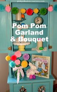 pom pom garland and bouquet