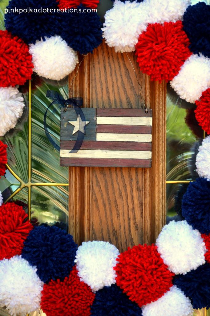 Americana pom pom wreath