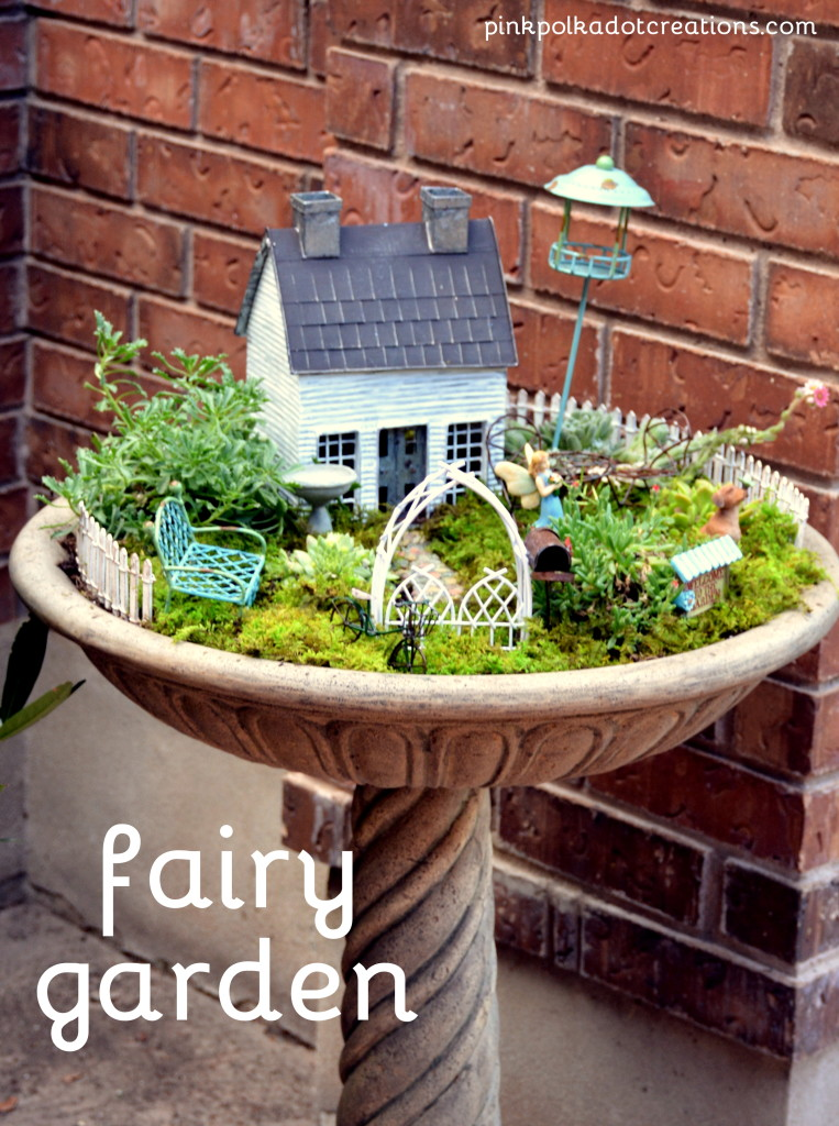 I First Had To Find A Birdbath Put The Fairy Garden In Ordered This One From Home Depot And It Love Look Of Looks Like Stone