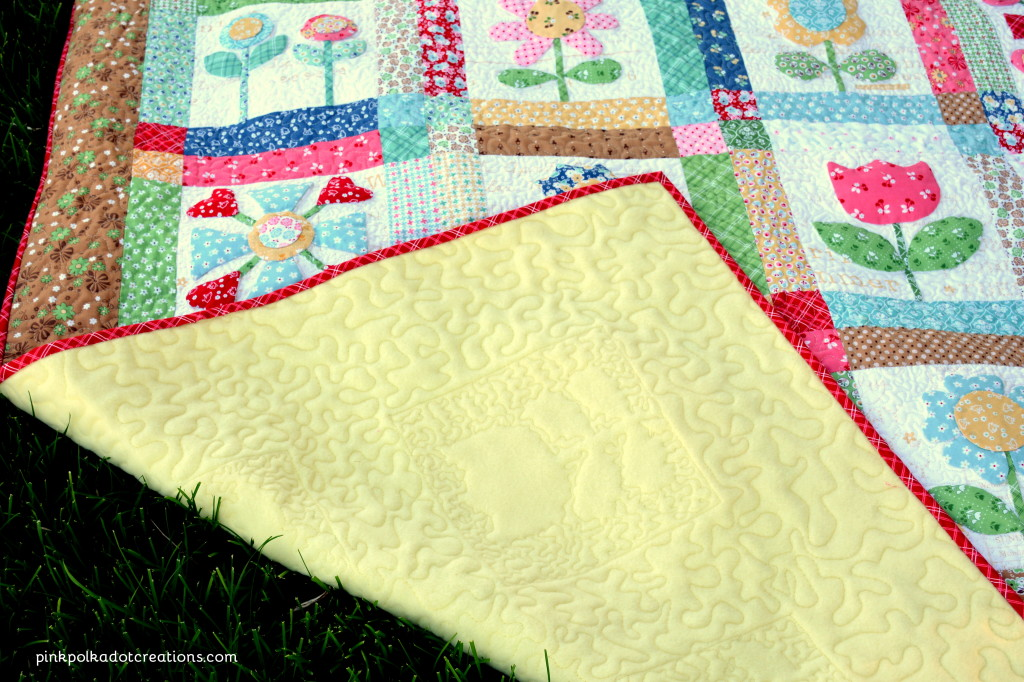 Bloom quilt pink polka dot creations