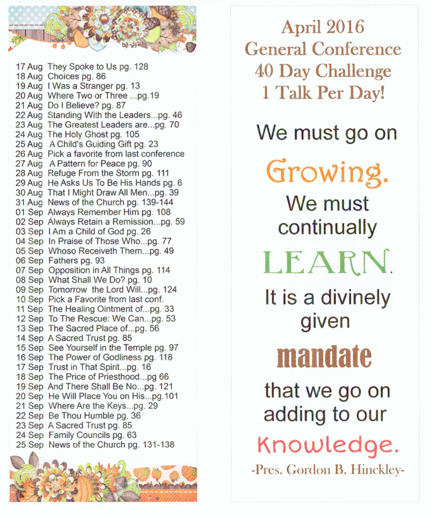 40 day conf. reading one set
