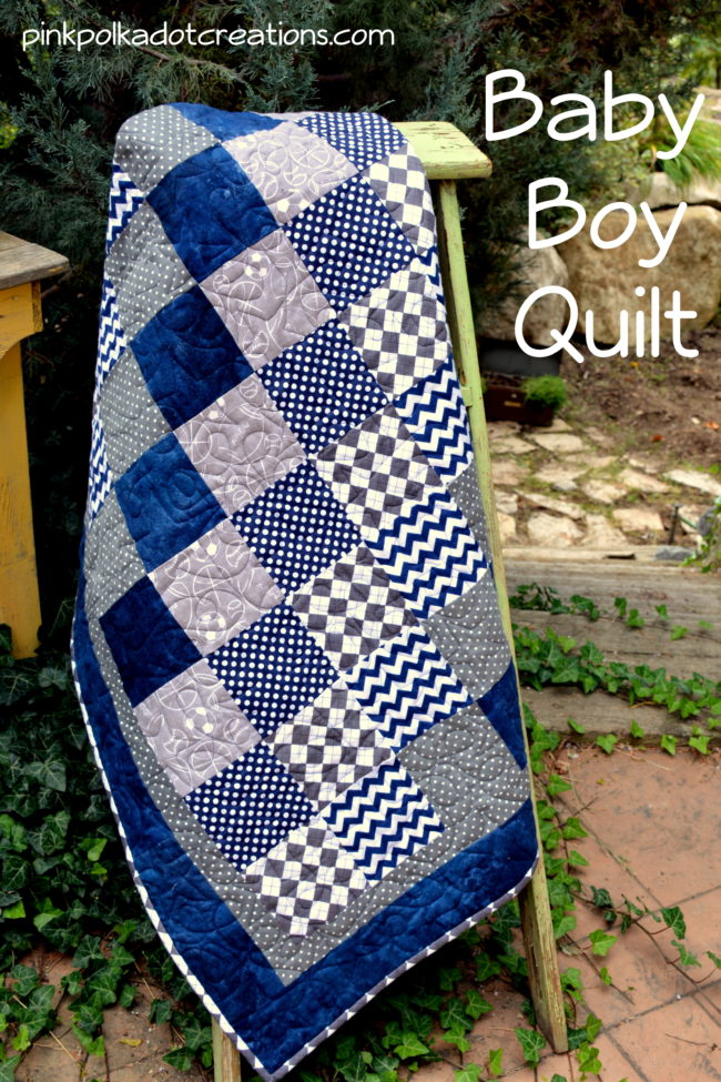 Baby Boy Quilt Pink Polka Dot Creations