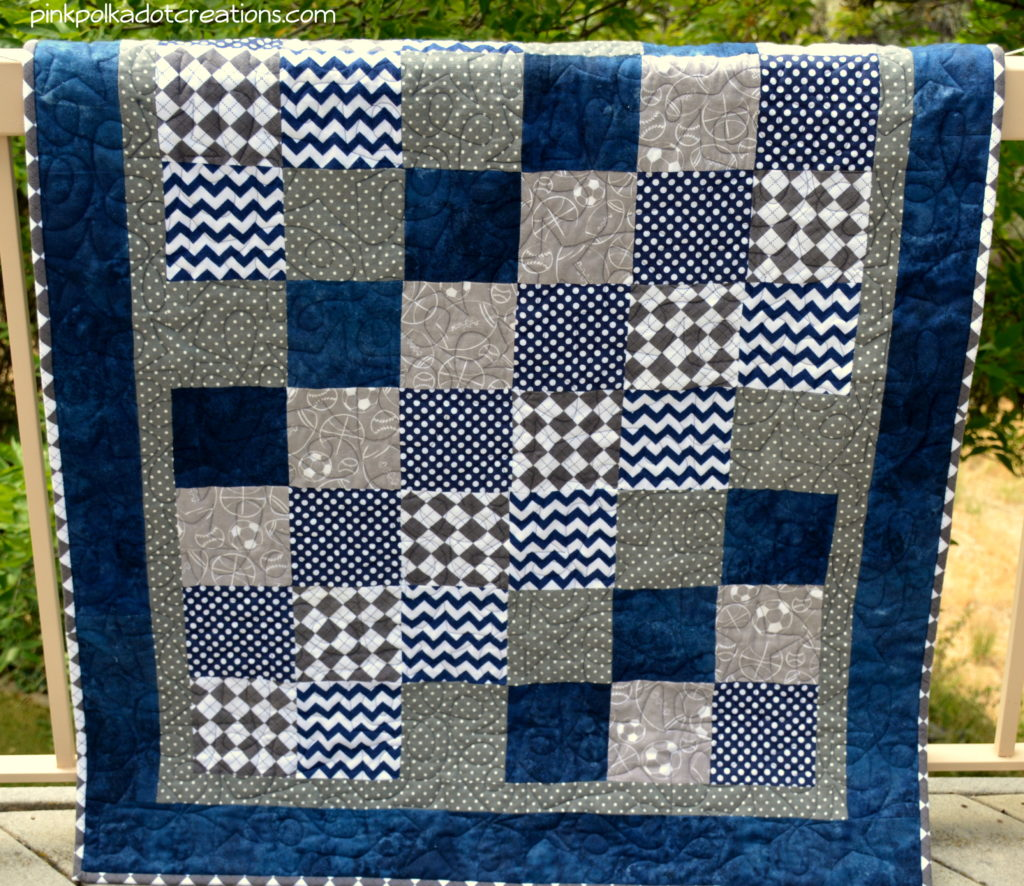 Baby Quilt Patterns For Boy : Baby Boy Quilt - Pink Polka Dot Creations