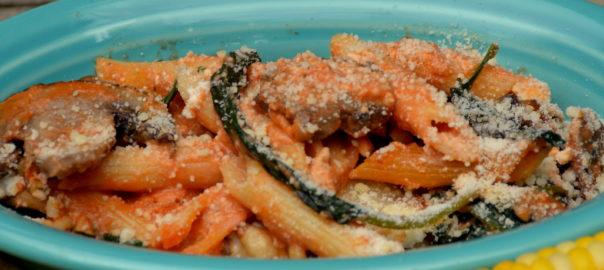 mushroom spinach pasta bake