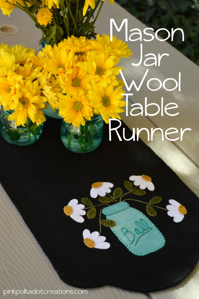mason jar wool table runner