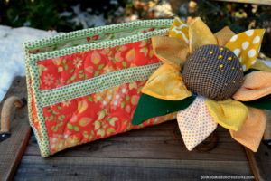 open wide bag and flower pin cushion