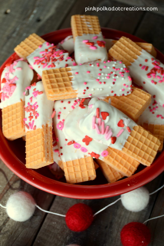 dipped Valentine wafer cookies