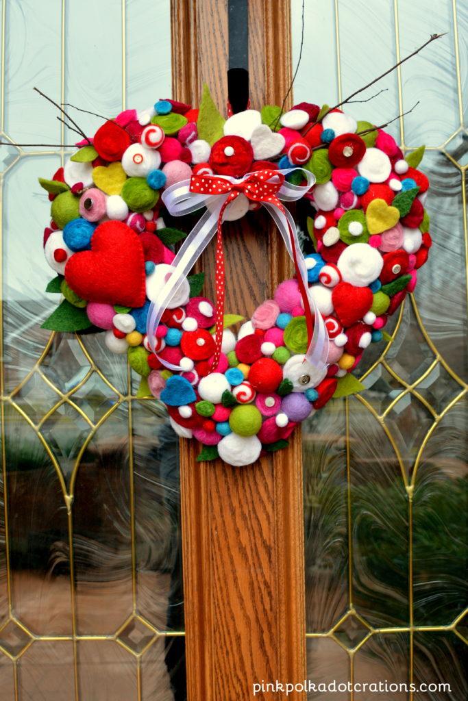 wool Valentine wreath
