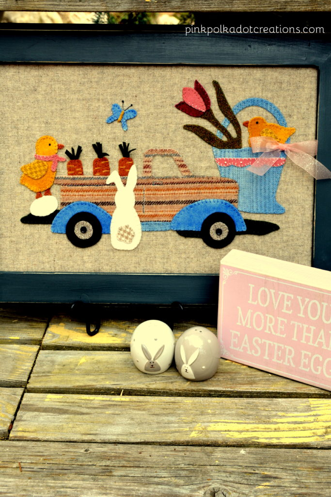 appliqued wool Easter picture