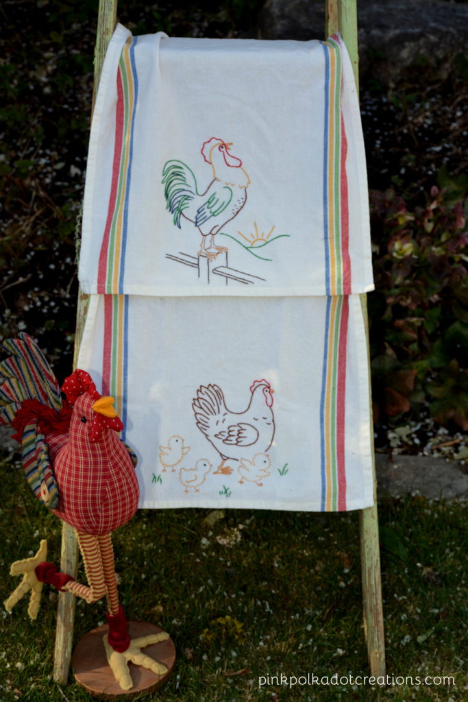 embroidered chicken dishtowels