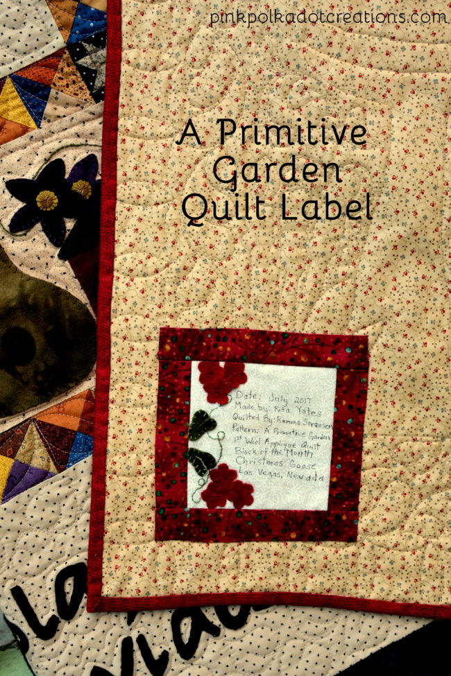 a primitive garden quilt label