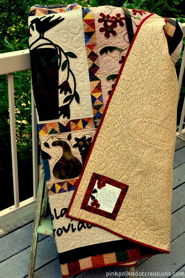 a primitive garden quilt label