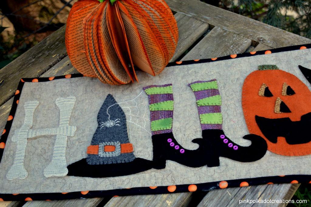 wool Halloween table runner